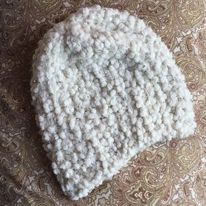 Fuzzy Soft Ivory Beanie with Sequin Accents
